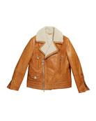 Brunello Cucinelli Boy's Leather Moto Jacket w/ Shearling,
