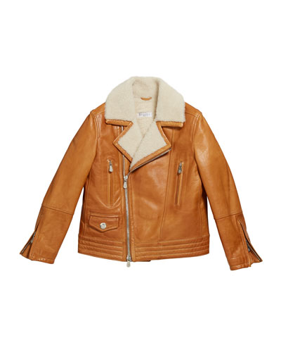 Boy's Leather Moto Jacket w/ Shearling, Size 8-10