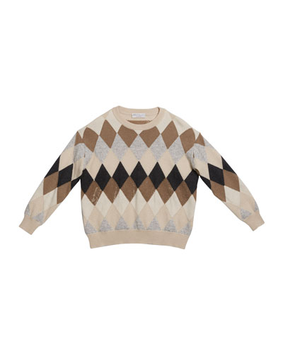 Girl's Argyle Wool-Blend Sweater with Paillettes, Size 12