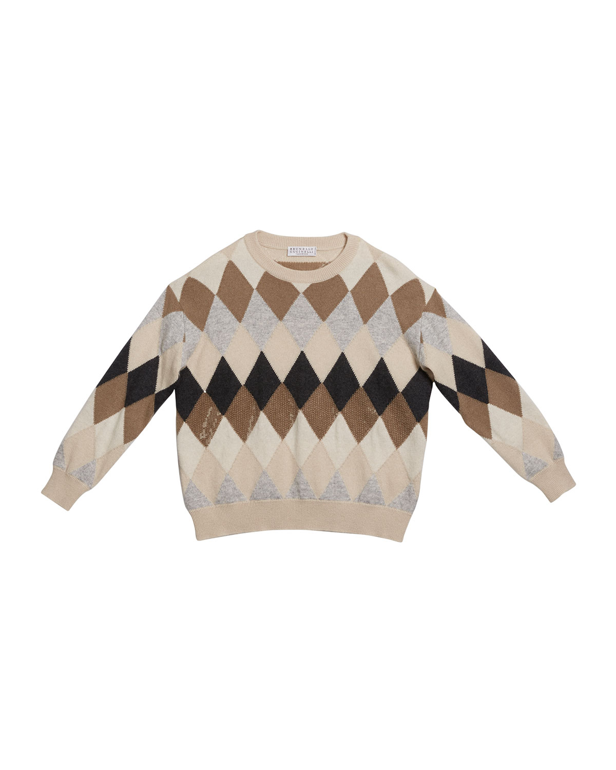 Brunello Cucinelli GIRL'S ARGYLE WOOL-BLEND SWEATER WITH PAILLETTES