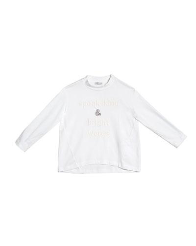 Girl's Long-Sleeve High-Low T-Shirt w/ Wording & Monili, Size 4-6