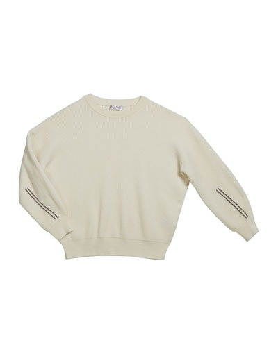 Girl's Cashmere English Rib Sweater w/ Monili Sleeve Trim, Size 4-6