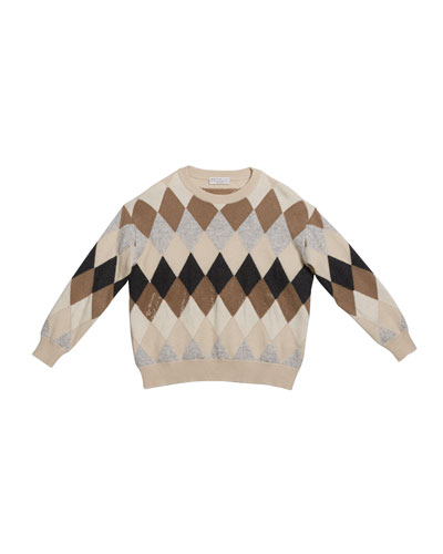 Girl's Argyle Wool-Blend Sweater with Paillettes, Size 8-10