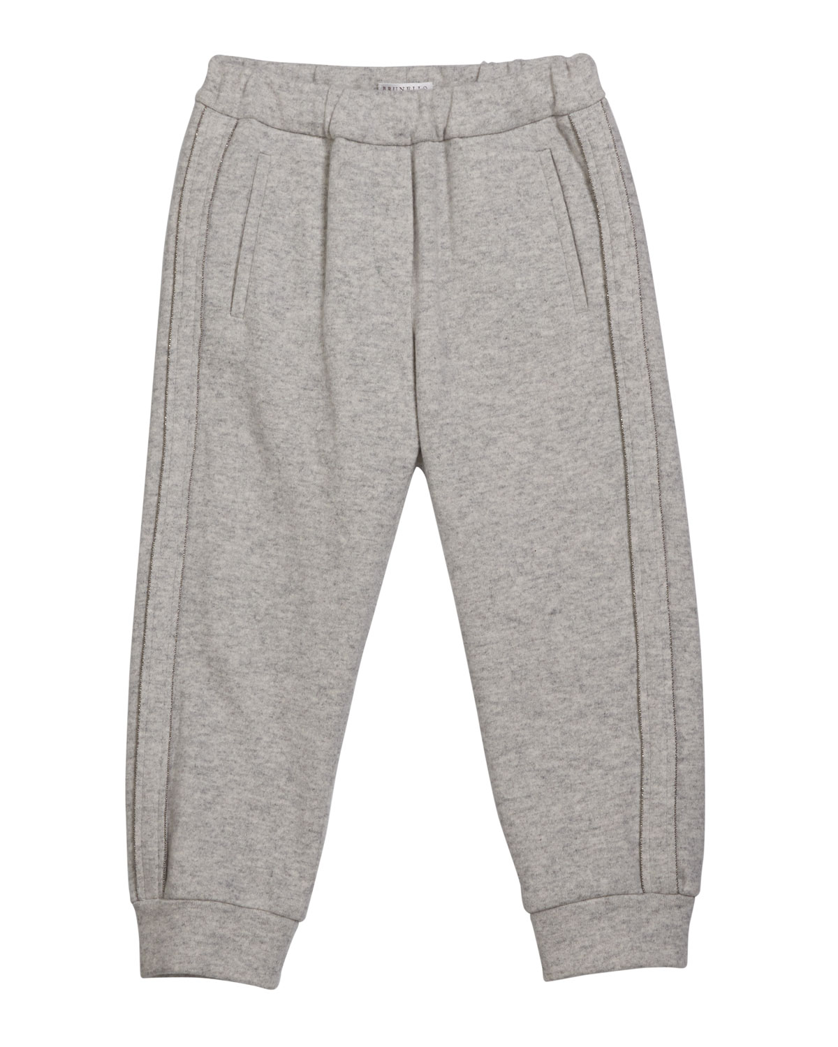 Brunello Cucinelli GIRL'S CASHMERE JOGGER PANTS WITH MONILI PIPING