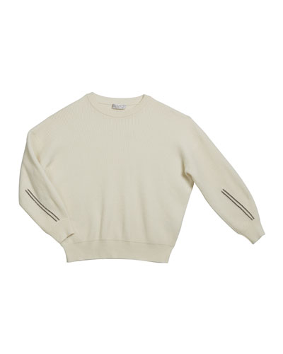 Girl's Cashmere English Rib Sweater w/ Monili Sleeve Trim, Size 8-10