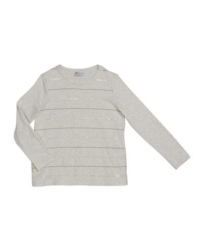 Girl's Paillette & Monili Striped Crewneck Long-Sleeve T-Shirt, Size 12
