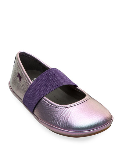 Iridescent Leather Elastic Band Flats, Toddler/Kids
