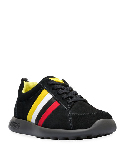Suede Sneakers w/ Multicolored Leather Sides, Toddler/Kids
