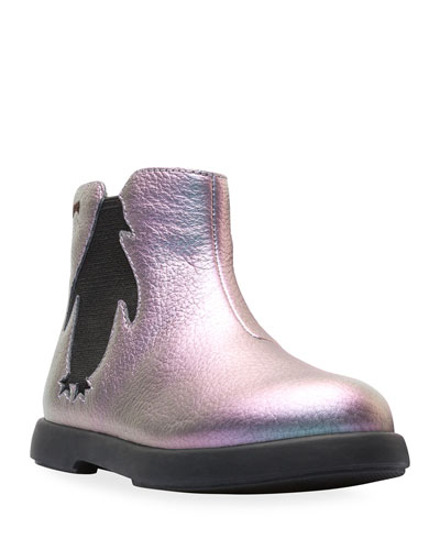 Iridescent Leather Boots, Toddler/Kids