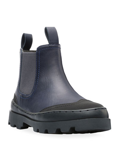 Two-Tone Mixed Leather Boots, Toddler/Kids