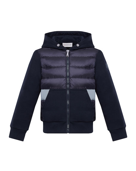 Moncler Boy's Puff Front Hooded Jacket, Size 4-6