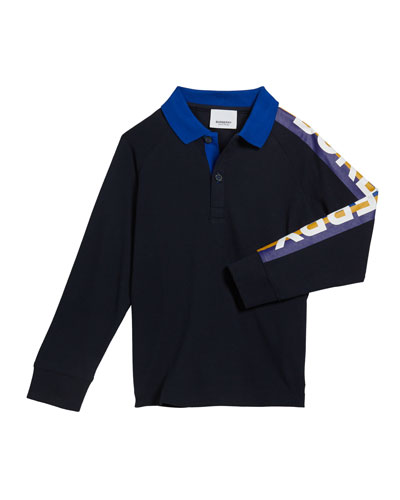 Boy's Duncan Polo Shirt w/ Logo Down Sleeve, Size 12M-2