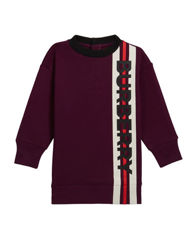 Girl's Letisha Striped Logo Sweatshirt Dress, Size 6M-2