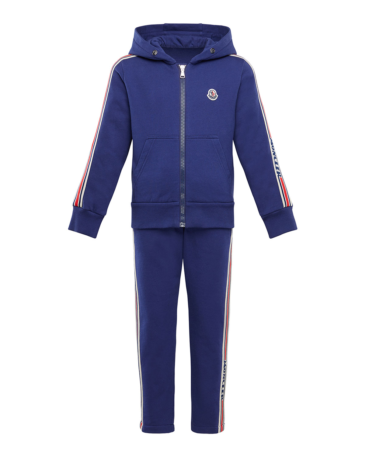 MONCLER BOY'S MOLLETON TWO-PIECE JOGGING SET W/ LOGO TAPING