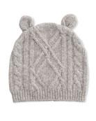 Sofia Cashmere Argyle Cable Knit Beanie Hat w/