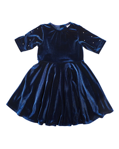 Girl's Stretch Velvet Dress w/ Pearly Beaded Sleeves, Size 4-6X