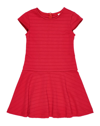 Girl's Stripe Techno Knit Dress, Size 7-14
