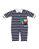 Florence Eiseman Boy's Stripe Lumberjack Bear Applique Coverall,