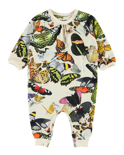 Girl's Francine Butterfly Print Coverall, Size Newborn-12 Months