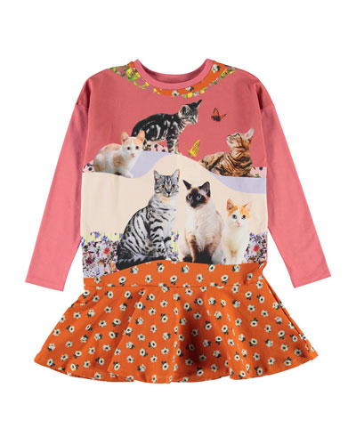 Girl's Claire Cats & Floral Print Dress, Size 2T-10