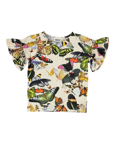 Girl's Rayah Frill Sleeve Butterfly Print Tee, Size 3-12