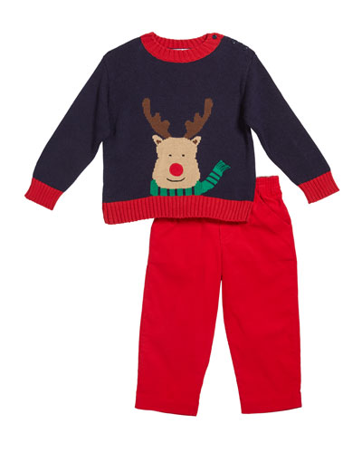 Boy's Reindeer Intarsia Sweater w/ Corduroy Pants, Size 12-24 Months