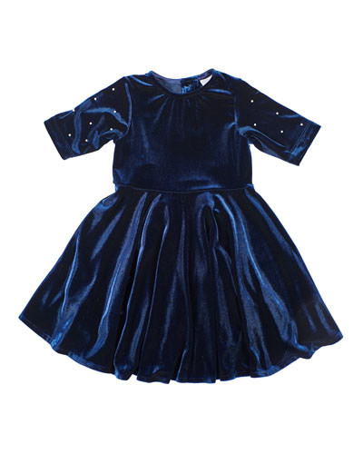 Girl's Stretch Velvet Dress w/ Pearly Beaded Sleeves, Size 7-10