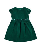 Florence Eiseman Girl's Twill Velvet Short-Sleeve Dress w/