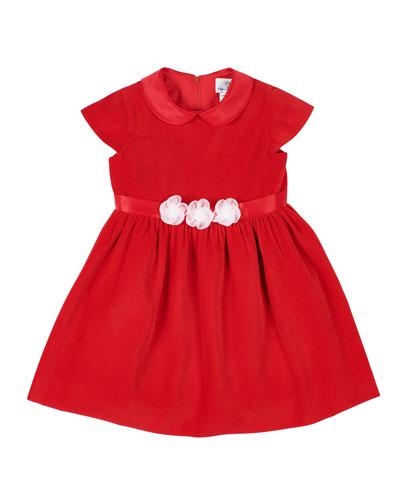 Girl's Velvet Peter Pan Collar Dress w/ Tulle Flower Belt, Size 2-6X
