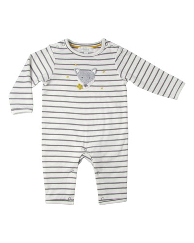 Striped Coverall w/ Crochet Wolf, Size 0-12 Months