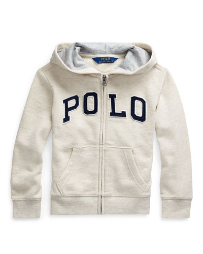 Boy's Polo Zip-Front Knit Jacket, Size 5-7