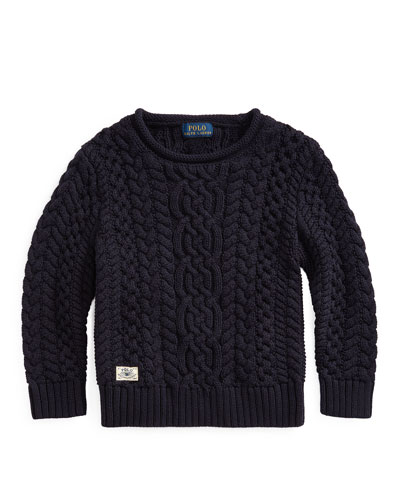 Boy's Aran Cable Knit Sweater, Size 2-4