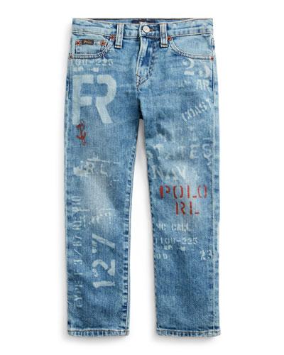 Boy's Logo Print Straight Leg Denim Jeans, Size 5-7