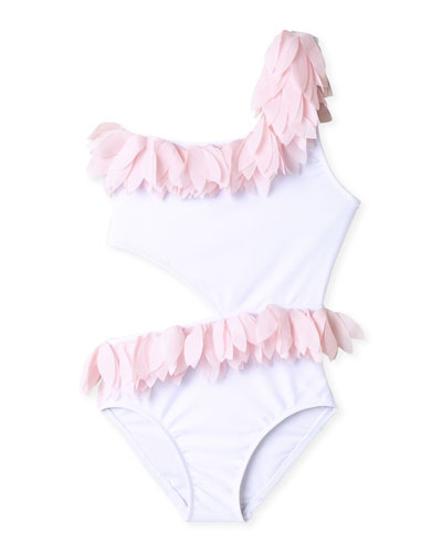 Girl's Tulle Petals Side Cutout One-Piece Swimsuit, Size 2-14