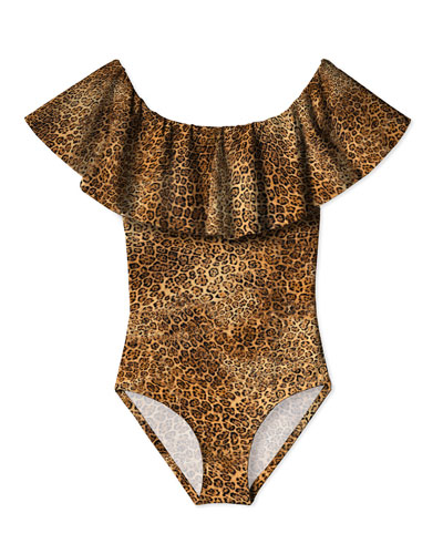 Girl's Leopard Print Ruffle One-Piece Swimsuit, Size 12M-14