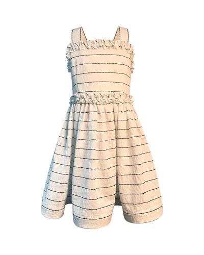 Girl's Wavy Striped Sun Dress, Size 7-12