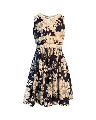 Girl's Floral-Print Dress w/ Ruffle Trim, Size 4-6