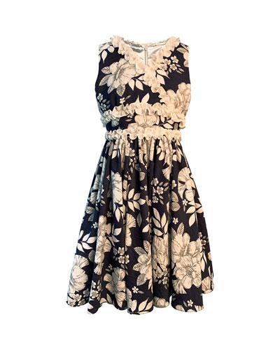 Girl's Floral-Print Dress w/ Ruffle Trim, Size 7-14