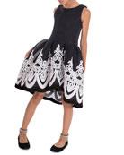 Zoe Girl's Brenna Passementerie Embellished Neoprene Dress, Size