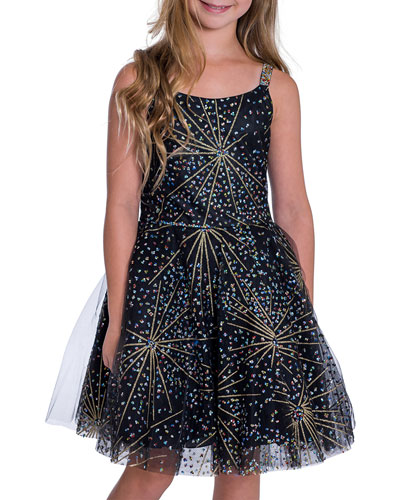 Girl's Firework Sparkle Skater Party Dress, Size 7-16