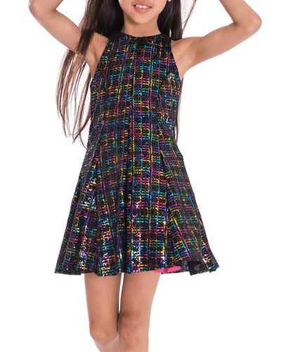 Girl's Stacey Rainbow Sequin Knit Dress, Size 7-16