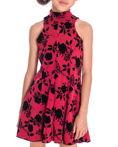 Girl's Flocked Floral High-Neck Dress, Size 7-16