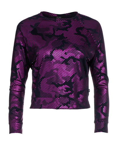Girl's Camo Foil Printed French-Terry Sweatshirt, Size 7-16