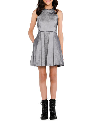 The Platinum Pocket Halter Dress, Size S-XL