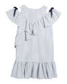 Habitual Girl's Striped Cold-Shoulder Ruffle Shift Dress, Size