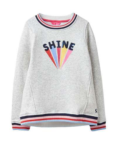 Girl's Viola Shine Striped-Trim Sweatshirt, Size 4-10