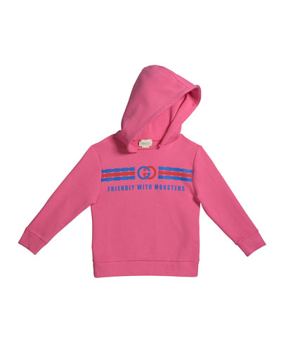 Girl's Friendly with Monsters Logo Fleece Hoodie, Size 4-12