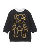 Burberry Girl's Chain Bear Fleece Sweatshirt Dress, Size