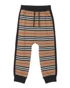 Burberry Boy's Lance Icon Stripe Jersey Jogger Pants,