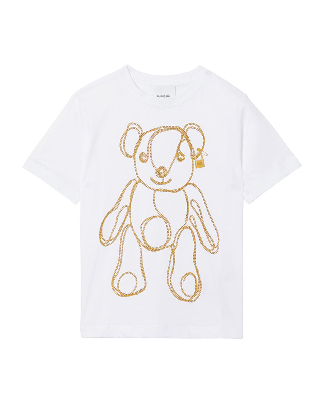 Burberry Kids' Girl's Chain Bear Short-sleeve Tee In White